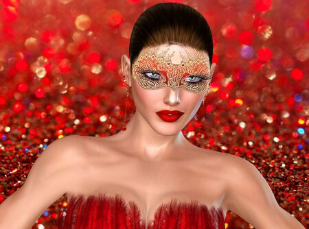 3D Valentine s day girl on bokeh background with mask