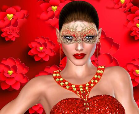 3D Valentine s day girl on red floral background with mask