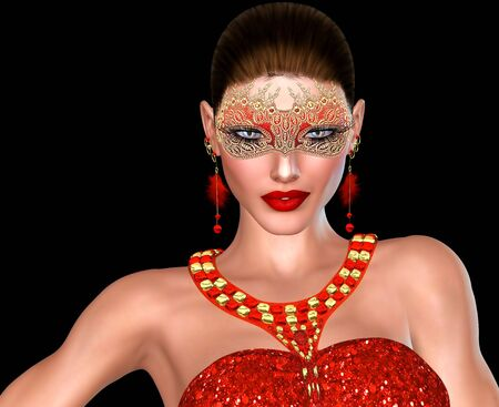 adds: 3D A masquerade mask adds to the mystery of this Valentine s day heart breaker  Isolated on black