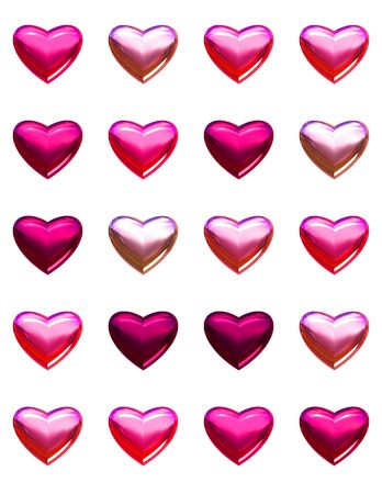 Valentines day hearts isolated on white