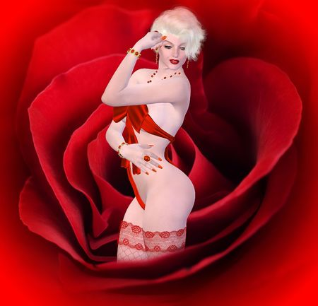 Sexy blonde in lingerie on red rose   photo