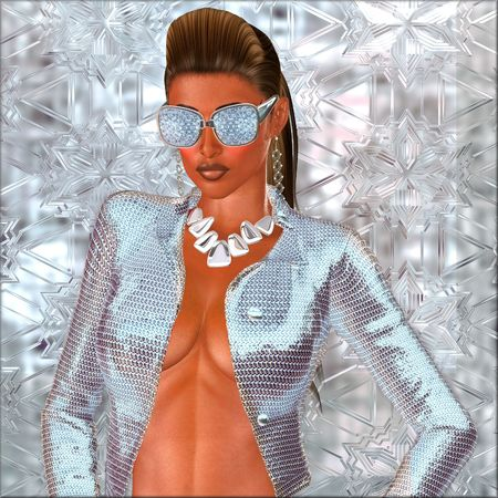 Diamond sunglasses, silver jacket, necklace, ponytail hairstyle Imagens