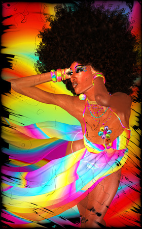 Woman with an Afro poses through a colorful textured background