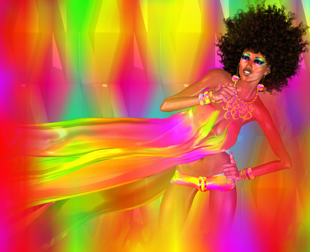 dancing club: Disco Dancing Woman with Afro,Colorful Background. Stock Photo