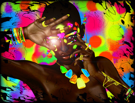 adds: Colorful abstract background adds pop to this beautiful black woman. Stock Photo