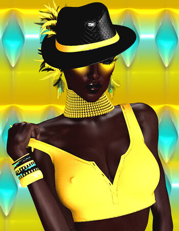 A beautiful, glowing, dark skinned digital art fashion model.