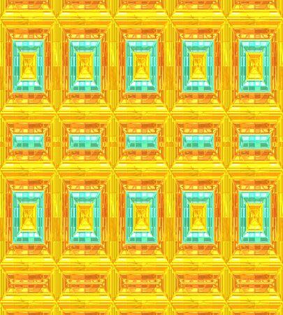 オレンジ、ゴールド、ターコイズのモダンな背景パターン。