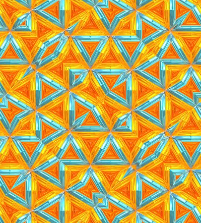 Colorful Triangle Patterns Background, gold, turquoise and orange. Stok Fotoğraf