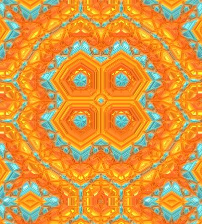 ユニークなパターンの背景、オレンジ、ゴールド、ターコイズ ブルーの色。 写真素材
