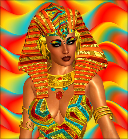 egyptian woman: Egyptian, Cleopatra in our modern digital art style, close up. Stock Photo