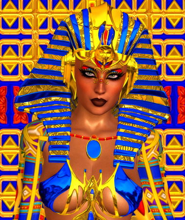 Cleopatra or any Egyptian Woman Pharaoh. Modern digital art fantasy, Egyptian style.