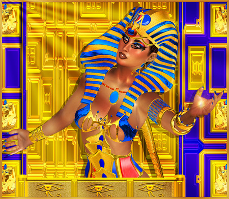 cleopatra: Cleopatra or any Egyptian Woman Pharaoh. Modern digital art fantasy.