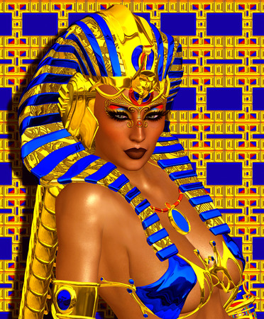 cleopatra: Cleopatra or any Egyptian Woman Pharaoh. Modern digital art fantasy, Egyptian style.