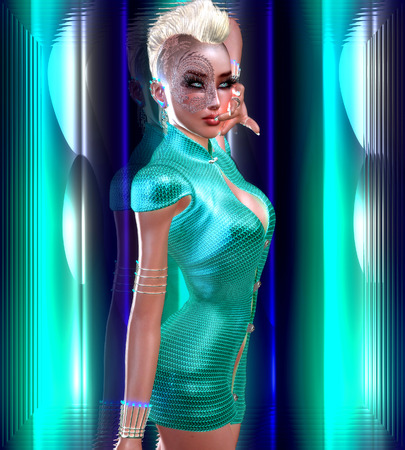sci fi: Dragon tattoo sci fi girl with futuristic outfit, Mohawk hairstyle and glowing abstract background. Stock Photo
