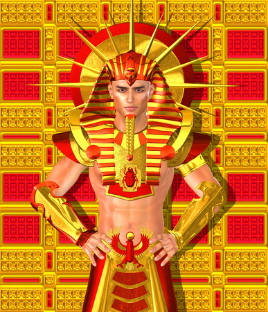 Egyptian Pharaoh Ramses. A modern digital art version of the ancient Egyptian king.