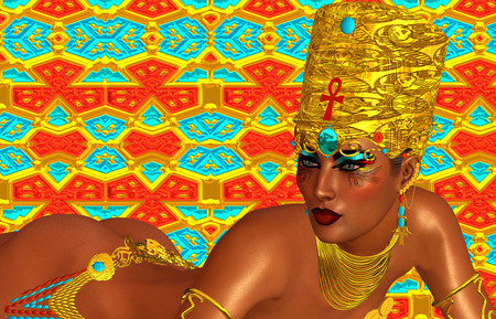 Egyptian, Cleopatra in our modern digital art style, close up. Stock Photo