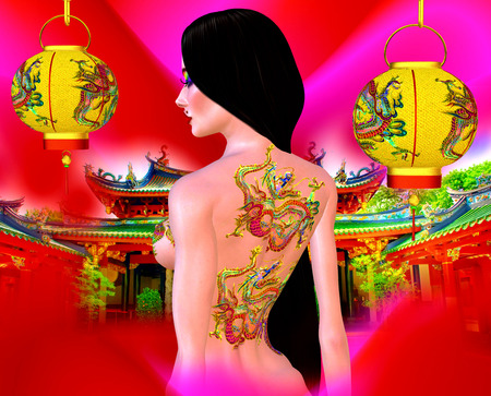 black and white dragon: Beautiful Asian woman, dragon tattoo on her back