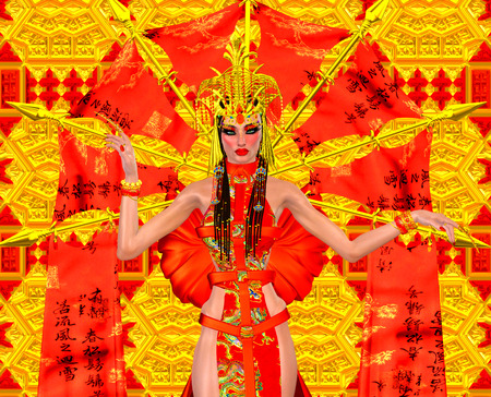 Asian beauty with red and gold fantasy outfit and background. photo