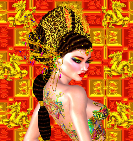 black and white dragon: Asian beautiful woman, dragon tattoo on her back Stock Photo