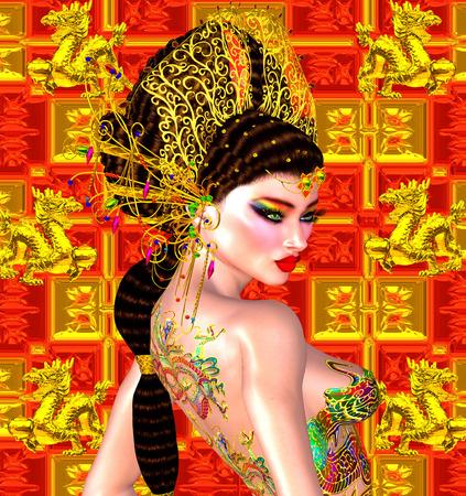 Asian beautiful woman, dragon tattoo on her back Stok Fotoğraf