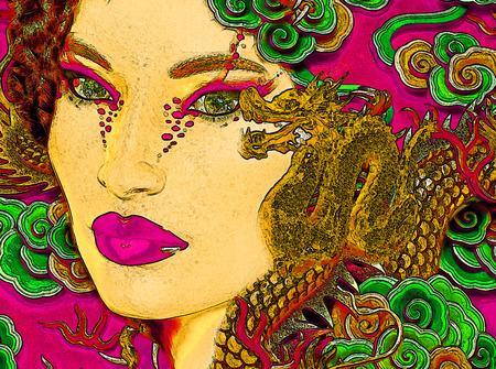 Close up face of Asian woman with dragon tattoo makeup photo