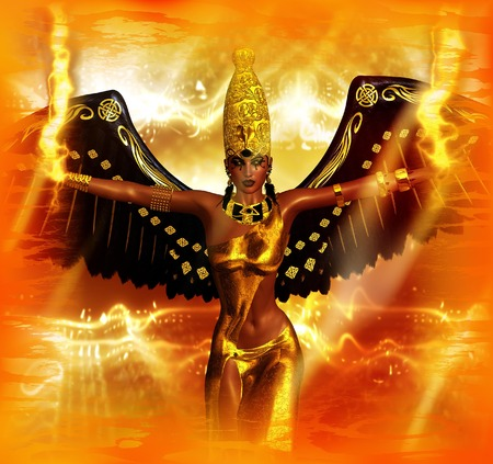 Angel of fire fantasy image. An angel with wings of black feathers and a background of fire along with Egyptian accents all set the stage for this powerful mythological fantasy scene.
