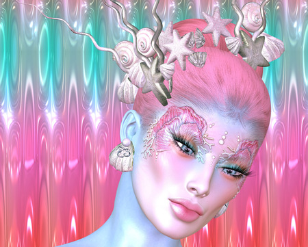 Mermaid, the mythological being in a modern digital art style. Sea shells and star fish decorate her hair as well as designing her eye make up. Beautiful face, close up. 免版税图像