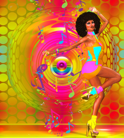 Disco dancing girl on abstract background with gold speaker and music notes.