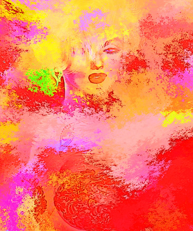 splashed: Colorful splashed paint creates this abstract digital art image of a blonde woman