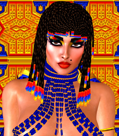 egyptian woman: Cleopatra or any Egyptian Woman Pharaoh. Modern digital art fantasy. Set on a gold and blue abstract background