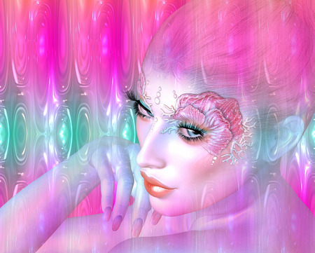 mythological: Mermaid, the mythological being in an abstract digital art style Stock Photo