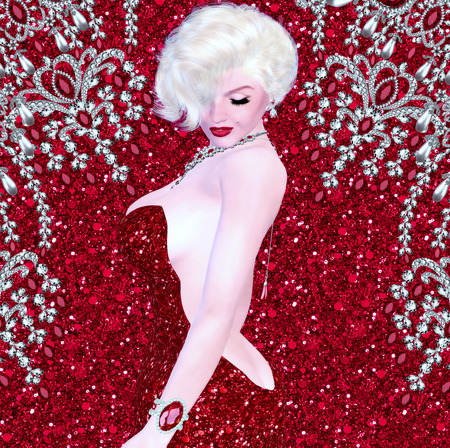 Blonde bombshell on red glitter and diamond background. Stock Photo