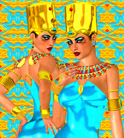 nile: Egyptian twin women in gold and turquoise