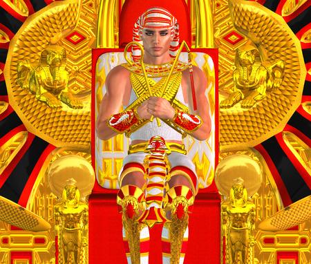 Egyptian Pharaoh Ramses seated on throne. Archivio Fotografico