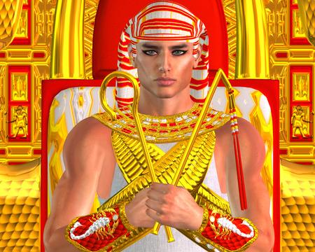 Egyptian Pharaoh Ramses Close up, seated on throne. Archivio Fotografico