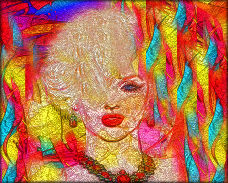 splashed: Colorful splashed paint creates this abstract digital art image of a blonde womans face shot.