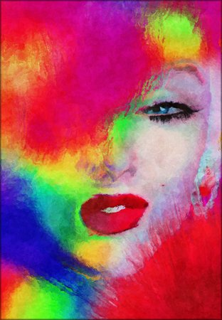 Abstract blonde with splashed paint. photo
