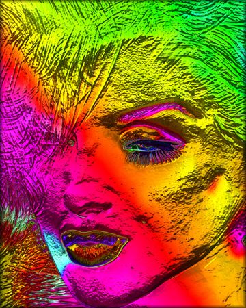 Colorful modern digital art, pop or punk art style blonde bombshell.