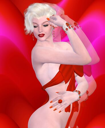 platinum hair: Sexy blonde bomb shell wearing a red bow dress against a red abstract background.