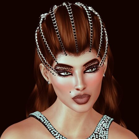 black onyx: Brunette with diamonds and black onyx tiara with matching dress.