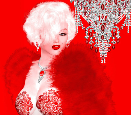 bombshell: Blonde bombshell on red and pink abstract background.