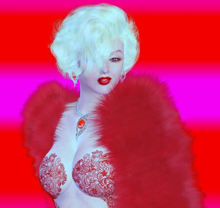 alike: Blonde bombshell on red and pink abstract background.