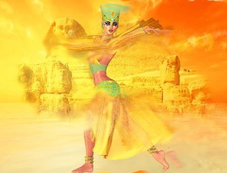 bailarinas arabes: Mujer egipcia en tormenta de arena del desierto con la esfinge y las antiguas ruinas