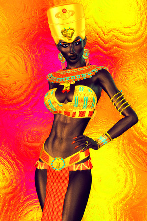 beauty queen: Black Egyptian princess in our modern digital art style, close up.