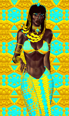 cleopatra: Black Egyptian princess in our modern digital art style, close up.