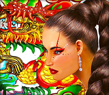 pony tail: Asian woman with dragon background. Long pony tail hairstyle and colorful makeup. Stock Photo