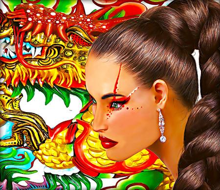 tail woman: Mujer asi�tica con el fondo de drag�n. Larga cola de caballo peinado y maquillaje colorido.