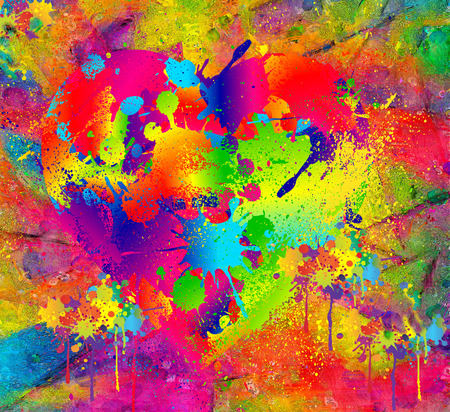 colorful paint: Abstract background colorful wet paint with blur effect. Modern digital art. Stock Photo