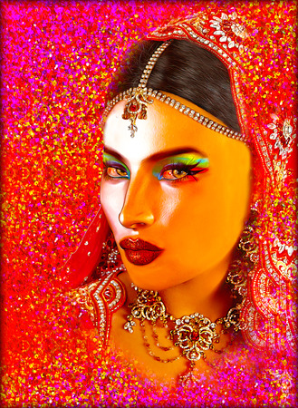 kamasutra: Abstract digital art of Indian or Asian womans face, close up with colorful veil. An oil paint effect and glowing lights are added for a more modern art look and feel to this beauty and fashion scene.