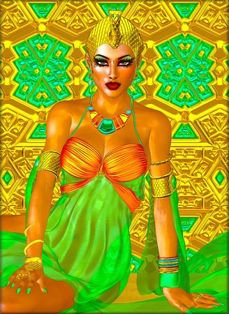 egyptian woman: Egyptian princess in gold and emerald green with beautiful fashion cosmetics make up and gold crown.